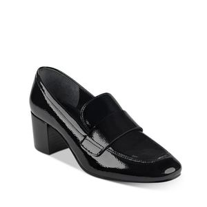 MARC FISHER Women's Hudson Block Heel Loafers In Black Patent Leather 9M
